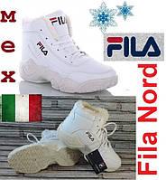 Женские кожаные зимние кроссовки с мехом - Fila Nord.