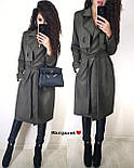 Замшевое пальто тренч на запах под пояс vN5305, фото 4
