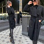 Женское пальто кардиган из экозамши и экомеха баран vN5306, фото 3