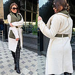 Женское пальто кардиган из экозамши и экомеха баран vN5306, фото 4