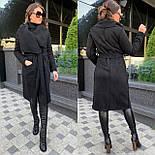 Женское пальто кардиган из экозамши и экомеха баран vN5306, фото 6