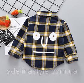 Нарядная рубашка на мальчика синяя в клетку утепленная  на плюше  1-2 года
