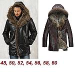 Куртка зимняя мужская кожаная с мехом енота и волка. Италия.