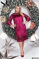 Нарядное женское платье Мраморный бархат и пайетка на трикотаже Размер 46 48 50 52 54 56 58 60 В наличии 3 цв, фото 1
