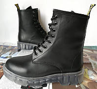 Легендарные! Dr. Martens Jadon женские зимние кожаные ботинки на платформе с шнуровкой черные Мартенс