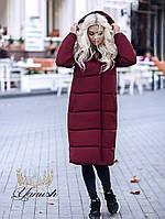 Женское зимнее теплое длинное пальто на синтепоне черный хаки марсала оливка темно-синий электрик С М Л, фото 1