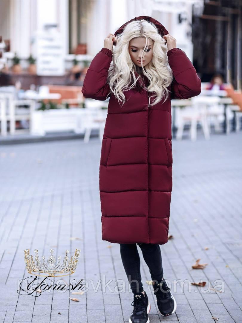 Женское зимнее теплое длинное пальто на синтепоне черный хаки марсала оливка темно-синий электрик С М Л