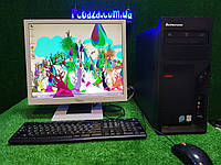 "Комплект Lenovo M55, 2 ядра, 4 ГБ ОЗУ, 500 Гб HDD + монитор 19"" Fujitsu ( со звуком! ), Полностью настроен!, фото 1"