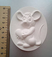 Гипсовая фигурка заготовка для раскрашивания. Гіпсова фігурка для розмальовування Мышь с сердцем