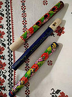 Деревянная флейта дудочка с Петриковской росписью/Wooden flute pipe with Petrikov painting
