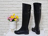 Сапоги-ботфорты из натуральной кожи высокие черного цвета зимние