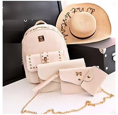 Стильний жіночий набір 4в1 з заклепками і пензликами, рюкзак, клатч, космо, візитниця, фото 2
