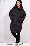 Плащевое женское пальто оверсайз в больших размерах с капюшоном и карманами vN5371, фото 3