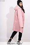 Плащевое женское пальто оверсайз в больших размерах с капюшоном и карманами vN5371, фото 6