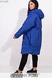 Плащевое женское пальто оверсайз в больших размерах с капюшоном и карманами vN5371, фото 9