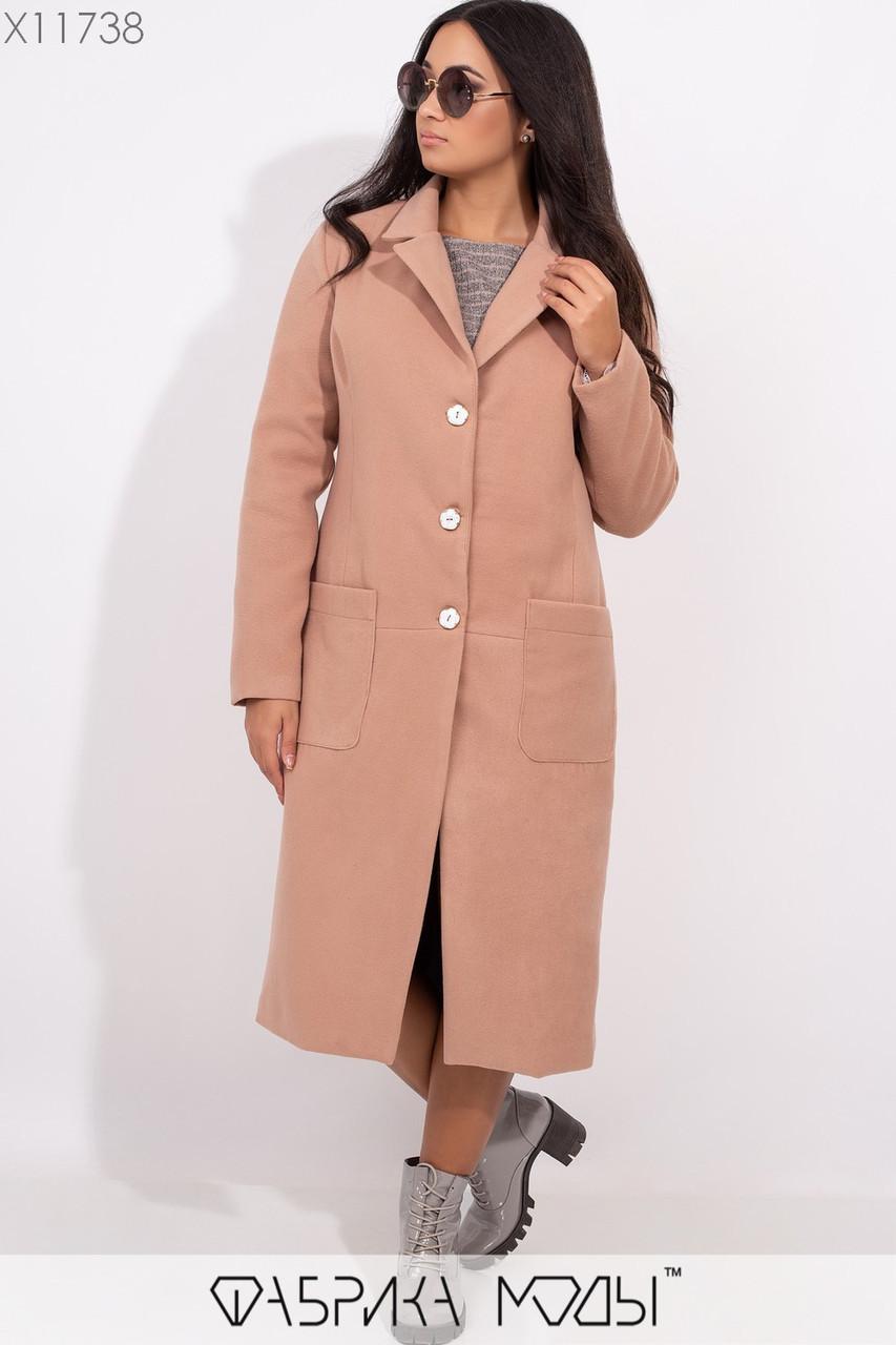 Кашемировое женское пальто в больших размерах на пуговицах и с карманами vN5378