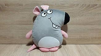 Мягкая игрушка-подушка Крыса / Мышь серая ручная работа
