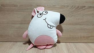 Мягкая игрушка-подушка Крыса / Мышь белая ручная работа
