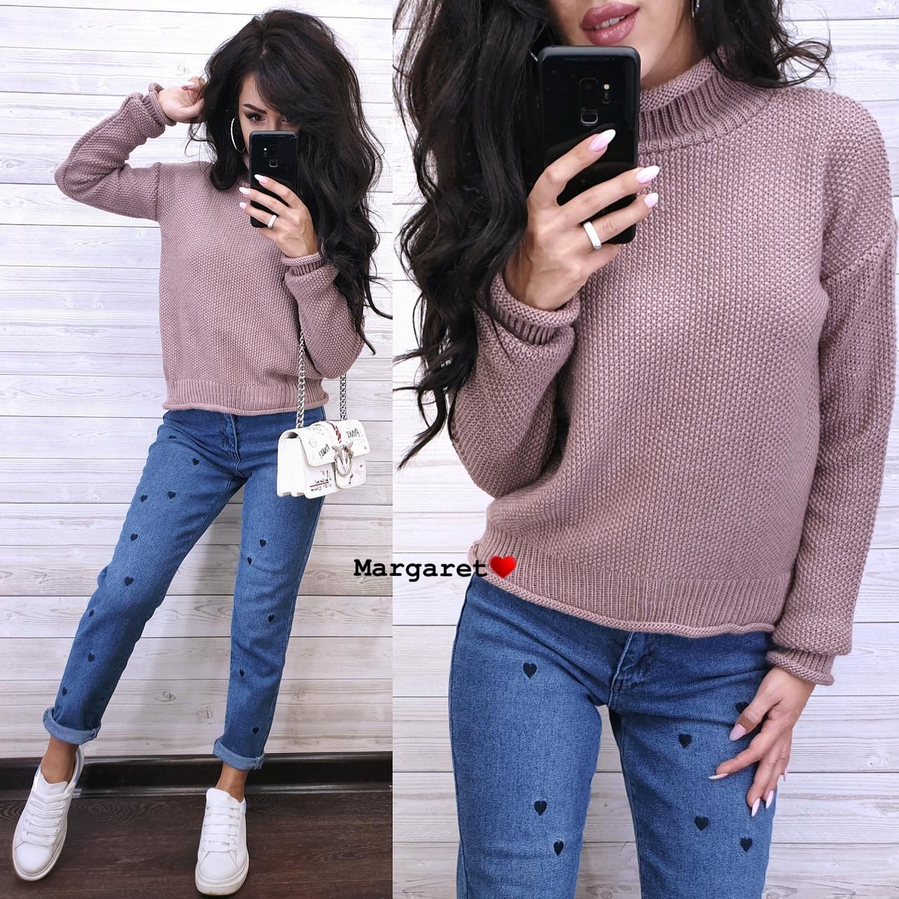 Вязаный теплый женский свитер с шерстью и высоким воротником vN5405