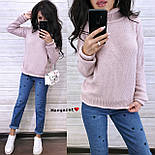 Вязаный теплый женский свитер с шерстью и высоким воротником vN5405, фото 6