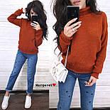 Вязаный теплый женский свитер с шерстью и высоким воротником vN5405, фото 7