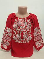 Детская красная хлопковая вышиванка для девочки с белой вышивкой Белослава Piccolo L