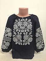 Детская темно синяя хлопковая вышиванка для девочки с белой вышивкой Белослава Piccolo L