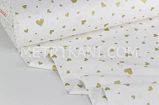 """Тканина ранфорс """"Сердечка різних розмірів"""" золоті (гліттер) на білому Туреччина 240 см №РН 1921"""