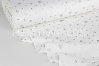 """Тканина ранфорс """"Сердечка різних розмірів"""" срібні (гліттер) на білому Туреччина 240 см №РН 1922"""