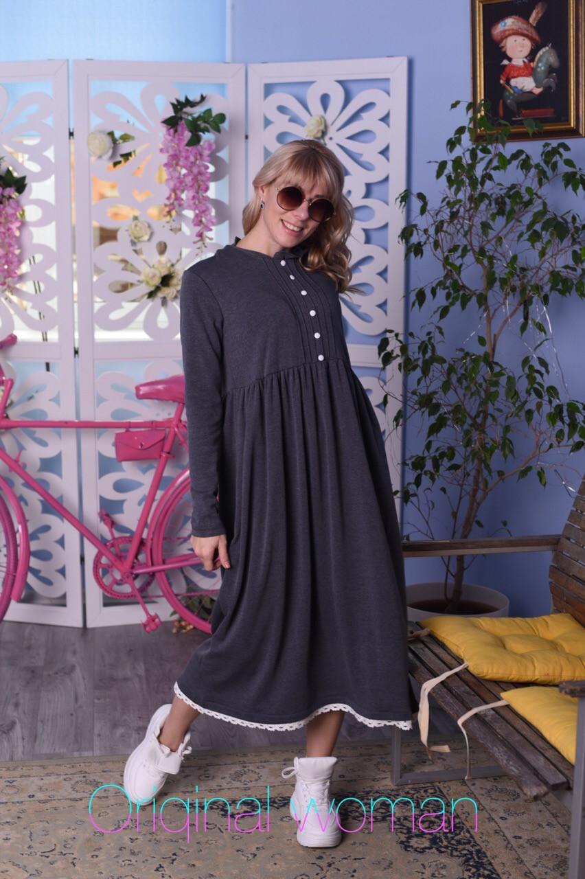 Теплое платье на флисе с завышенной талией и расклешенной юбкой vN5432