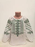 Детская белая хлопковая вышиванка для девочки с зеленой вышивкой Ручеек Piccolo L