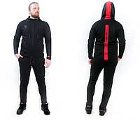 Костюм спортивный мужской теплый на флисе  черный с красной полосой