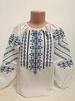 Детская белая хлопковая вышиванка для девочки с синей вышивкой Ручеек Piccolo L