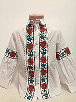 Детская белая блузка для девочки с вышивкой Маки красные Piccolo L