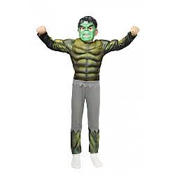 Детский карнавальный костюм ХАЛК с мышцами для мальчика 6,7,8,9 лет новогодние костюмы супергероев