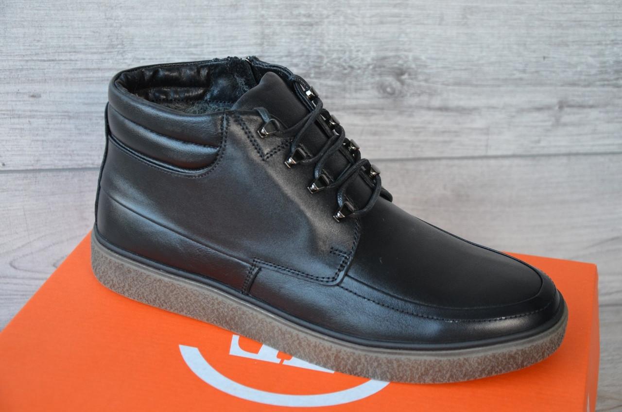 Зимние Мужские Ботинки LEVEL ORIGINAL CLASSIC черные кожа
