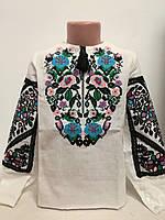 Детская белая льняная вышиванка для девочки с вышивкой Дуэт голубая Piccolo L