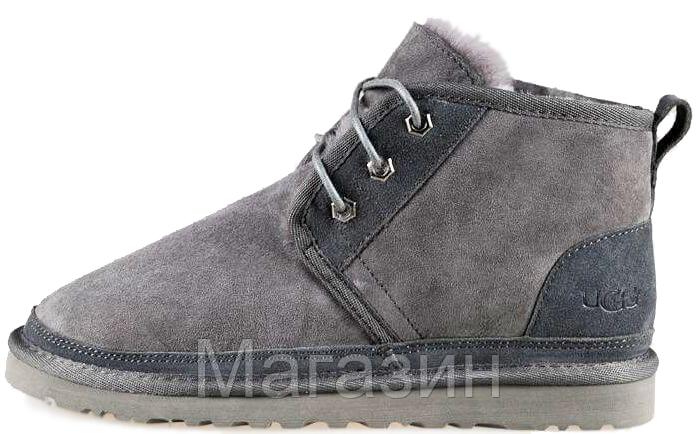 Женские зимние ботинки угг UGG Neumel Boot Grey оригинал Угги Ньюмел серые с натуральным мехом