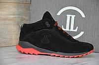 Зимние Мужские Кроссовки замшевые Level черные, красная подошва, фото 1