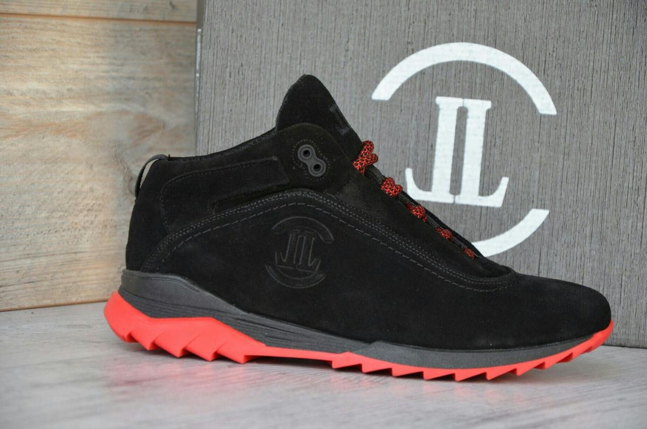 Зимние Мужские Кроссовки замшевые Level черные, красная подошва