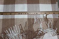 Плед вовняний (50%вовна, 50%ПЕ), розмір 140*200 см, елочка горіхова клітинка світла. № 2002