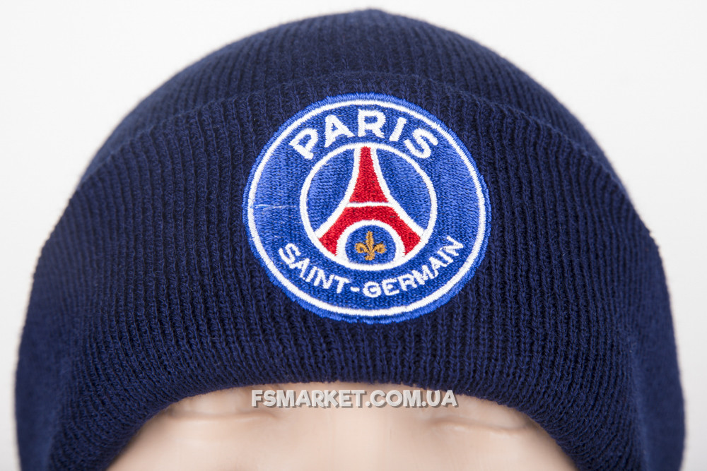 Шапка ПСЖ двойная вязка с вышивкой логотипа футбольного клуба
