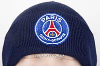 Шапка ПСЖ двойная вязка с вышивкой логотипа футбольного клуба, фото 1