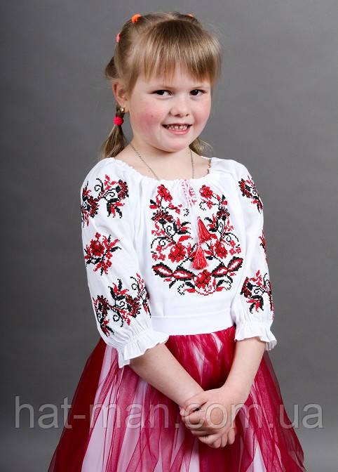 """Блузка """"Іваничка"""" біла з червоним"""
