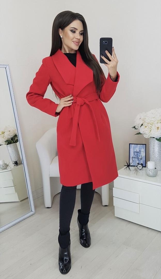Пальто женское Батал Красный