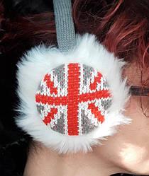 Наушники (ушки) England  накладки меховые  серые с белым (0381)