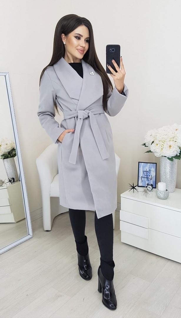 Пальто женское Батал Серый