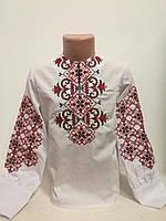 Детская белая вышиванка для девочки с красной вышивкой Татарка Piccolo L