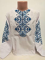 Детская белая вышиванка для девочки с синей вышивкой Татарка Piccolo L