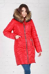 Зимняя удлиненная куртка Кетти красная